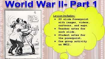 World War II- Powerpoint Lecture with notes. United States History. AP, 9-12