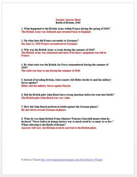 World War II Primary Source Worksheet: Battle of Britain, 1940