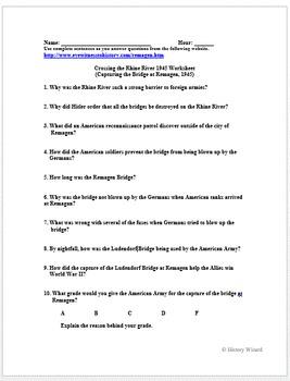 World War II Primary Source Worksheet: Crossing the Rhine River 1945