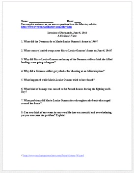 World War II Primary Source Worksheet: Invasion of Normandy, Civilian Viewpoint