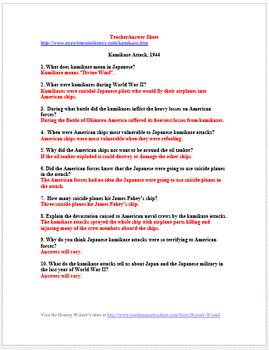 World War II Primary Source Worksheet: Kamikaze Attack, 1944