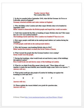 World War II Primary Source Worksheet: London Blitz, 1940 by ...
