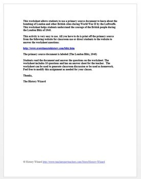 World War II Primary Source Worksheet: London Blitz, 1940