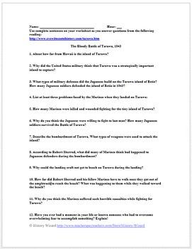 World War II Primary Source Worksheet: The Bloody Battle of Tarawa, 1943