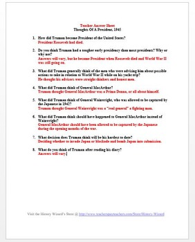 World War II Primary Source Worksheet: Thoughts Of A President 1945