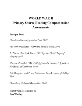World War II Primary Sources and Reading Comprehension Quiz Questions