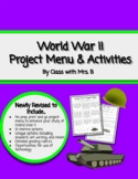 World War II Project Menu- No prep, share and go!