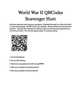 World War II QR Codes Scavenger Hunt