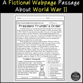 World War II Reading Comprehension Paired Passages