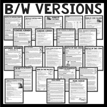 World War II Reading Comprehension Passages for Centers or Homework