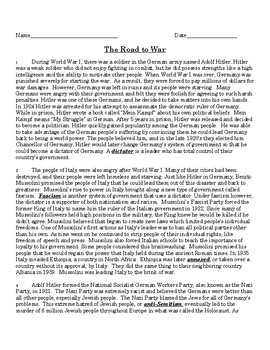 World War II Readings and Questions