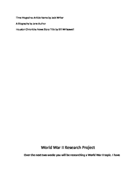 World War II Research Project