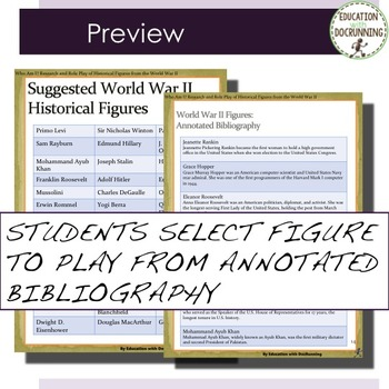 World War II Research and Role Play Project for Figures from World War II