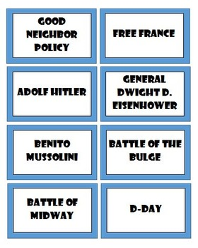 World War II Review Game - Based on HEADBANDS Game - 96 Review Cards
