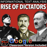 World War 2 Rise of Dictators Informational Text Analysis (WWII)