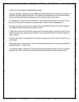Pearl Harbor Speech Analysis of Roosevelt's World War II Speech