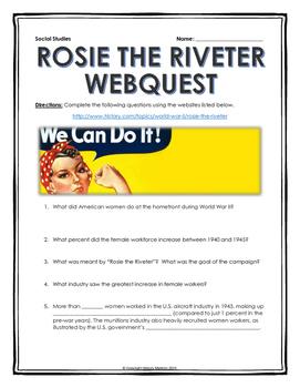 World War II - Rosie the Riveter - Webquest with Key (FREE)