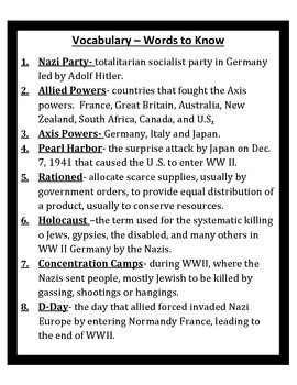 World War II STUDY GUIDE