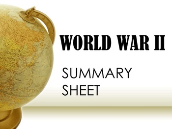 World War II Summary Sheet