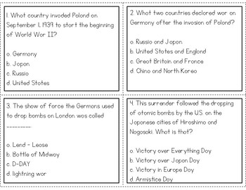 World War II Task Cards