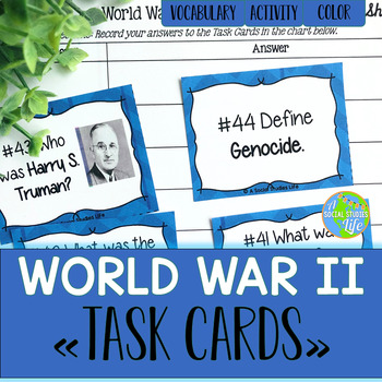 World War II Task Cards and Recording Sheet