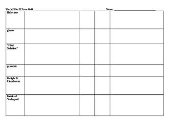 World War II Term Grid