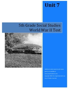 World War II Test--5th Grade Social Studies
