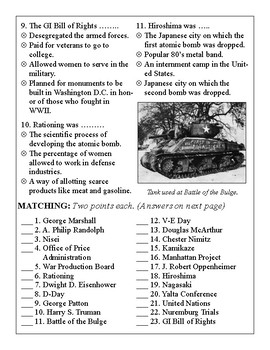 World War II Test (Part 2)