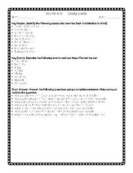 World War II Test & Study Guide