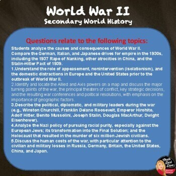 World War II Tests & Review Games - Common Core Q's! (World History)