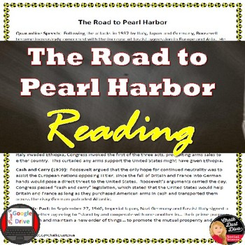 World War 2: The Road to Pearl Harbor Reading Activity