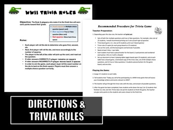 World War II Trivia Board Game Activity