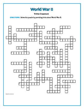 World War II Trivia Crossword—54 Clues! Fun and unique!