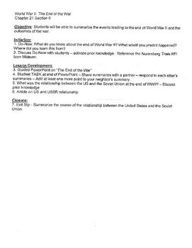 World War II Unit Plan: Part 6/6 ... Great Unit Plan