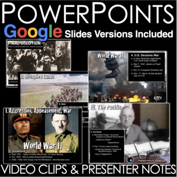World War 2 Unit - PowerPoints, Worksheets, Lesson Plans+Test(WW2)