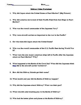 World War II Video Webquest Pearl Harbor and Midway (Great Lesson Plan)