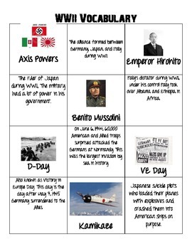World War II Vocabulary Cards