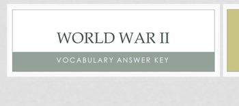 World War II Vocabulary Handout & Answer Key Presentation