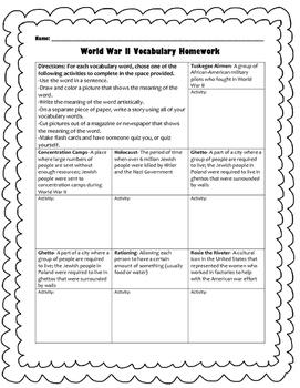 World War II Vocabulary, Homework, and Quiz (SS5H6)