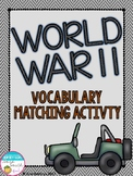 World War II Vocabulary Matching Activity (World War 2, WWII, WW2)
