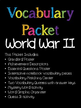 World War II Vocabulary Packet