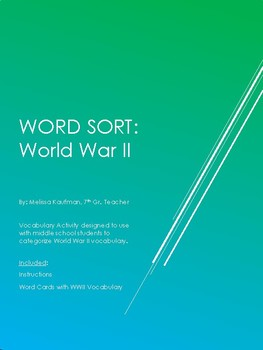 World War II Vocabulary Word Sort