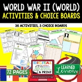 World War II (WWII) Activities, Choice Board, Print & Digital, Google