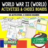 World War II (WWII) Activities, Choice Board, Print & Digi