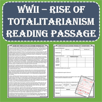 World War II (WWII) - Rise of Totalitarianism Reading Passage