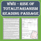 World War II - Rise of Totalitarianism Summary and Worksheet (PDF and Digital)