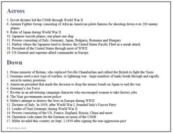 World War II WWII (WW2) Terminology Crossword Puzzle Activity Worksheet