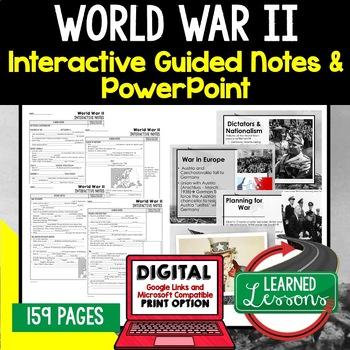 World War II, WWIIl Notes & PowerPoints, US History, Print, Digital