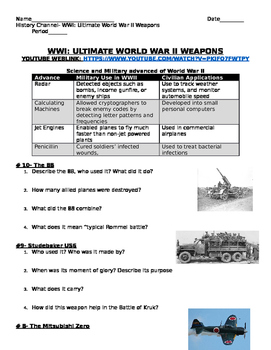 World War II Weapons- film guide and worksheet and students create a brochure!