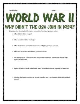 World War II - Why Didn't the USA Join WWII in 1939?  Reading & Questions
